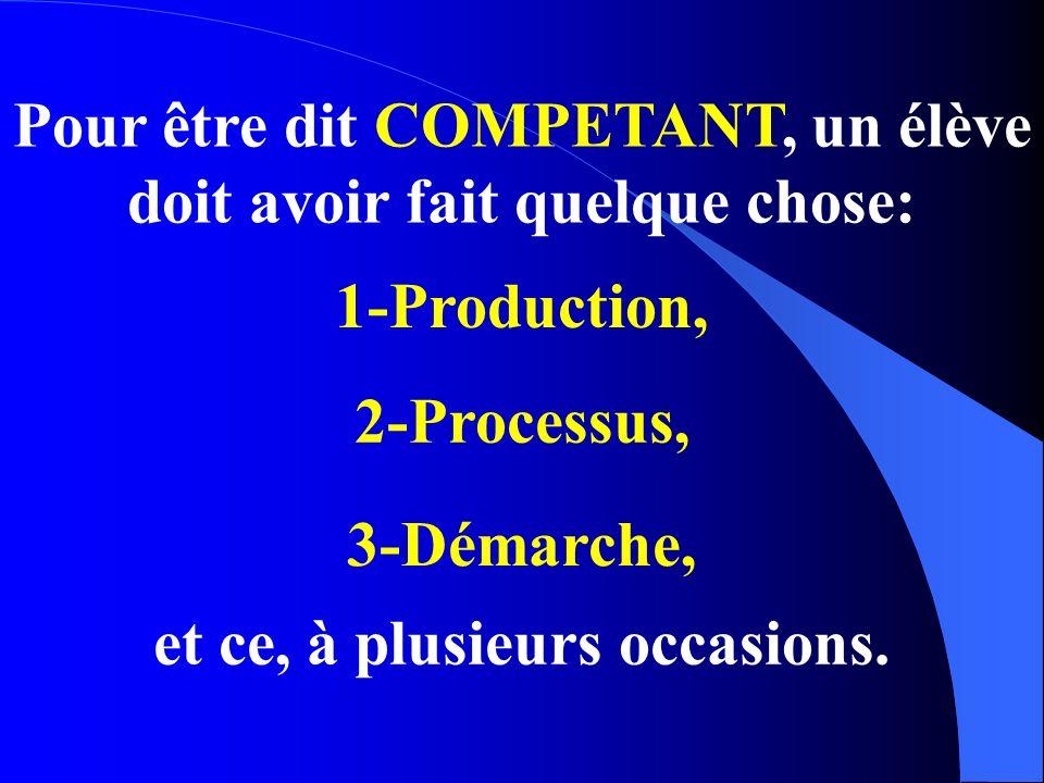 Pour être dit COMPETANT, un élève doit avoir fait quelque chose: 1-Production, 2-Processus, 3-Démarche, et ce, à plusieurs occasions.