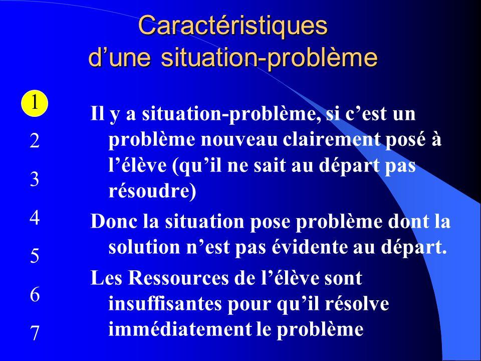 Caractéristiques dune situation-problème Il y a situation-problème, si cest un problème nouveau clairement posé à lélève (quil ne sait au départ pas r