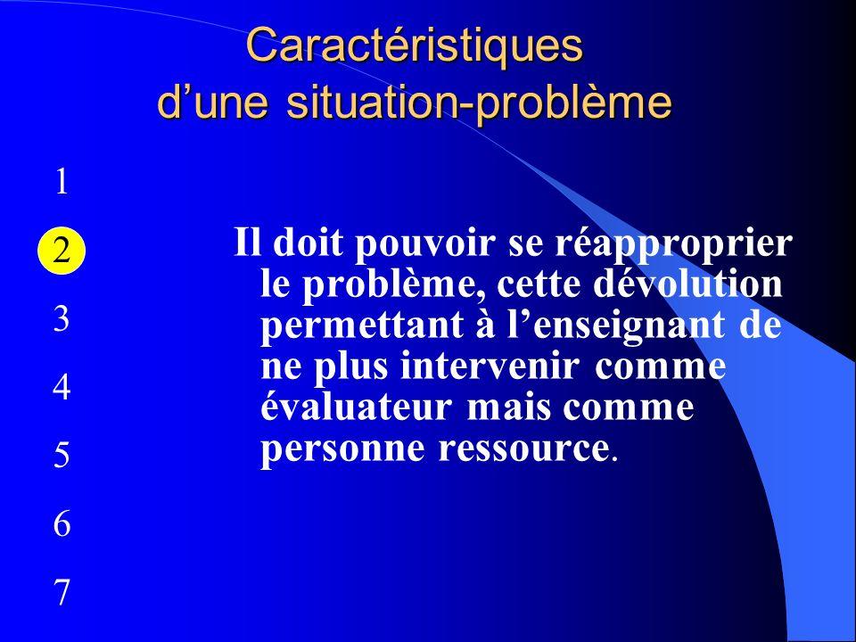 Caractéristiques dune situation-problème Il doit pouvoir se réapproprier le problème, cette dévolution permettant à lenseignant de ne plus intervenir