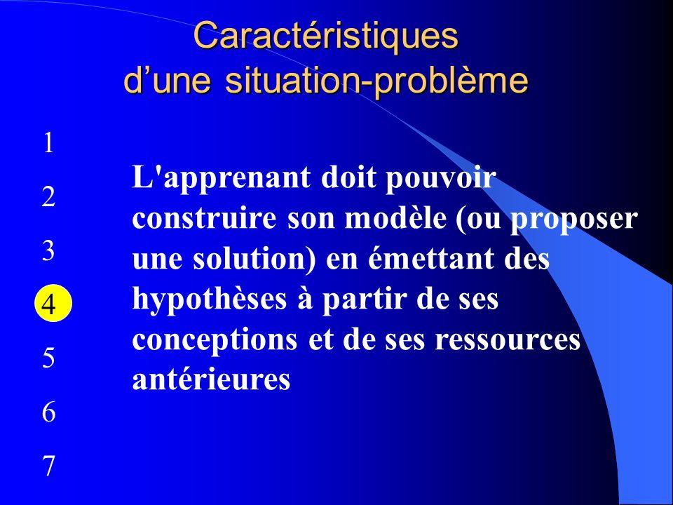 Caractéristiques dune situation-problème 12345671234567 L'apprenant doit pouvoir construire son modèle (ou proposer une solution) en émettant des hypo