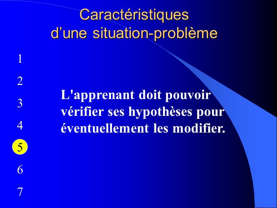 Caractéristiques dune situation-problème 12345671234567 L'apprenant doit pouvoir vérifier ses hypothèses pour éventuellement les modifier.