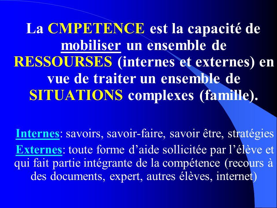La CMPETENCE est la capacité de mobiliser un ensemble de RESSOURSES (internes et externes) en vue de traiter un ensemble de SITUATIONS complexes (fami