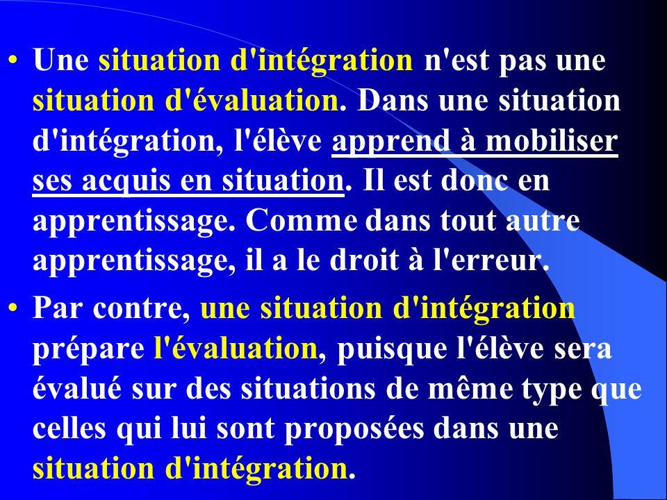 Une situation d'intégration n'est pas une situation d'évaluation. Dans une situation d'intégration, l'élève apprend à mobiliser ses acquis en situatio