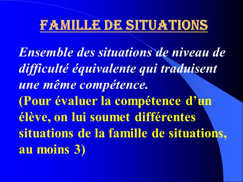 Famille de situations Ensemble des situations de niveau de difficulté équivalente qui traduisent une même compétence. (Pour évaluer la compétence dun