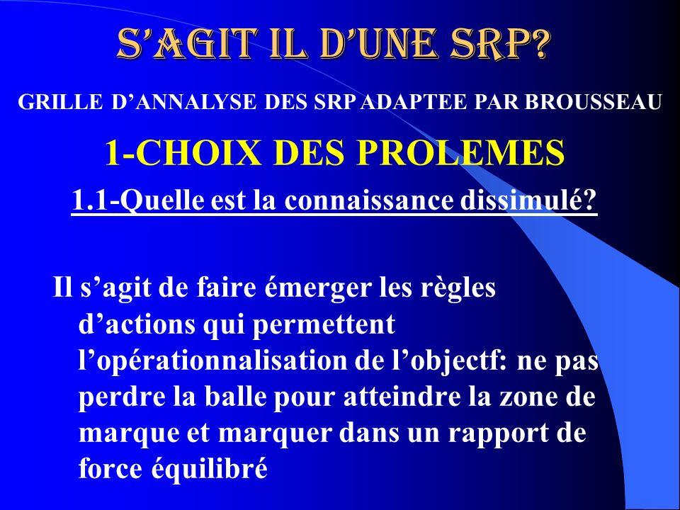 Sagit il dune SRP? 1-CHOIX DES PROLEMES 1.1-Quelle est la connaissance dissimulé? Il sagit de faire émerger les règles dactions qui permettent lopérat