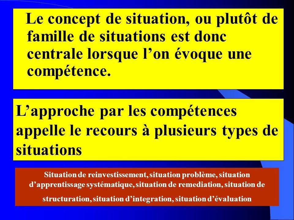 Le concept de situation, ou plutôt de famille de situations est donc centrale lorsque lon évoque une compétence. Situation de reinvestissement, situat