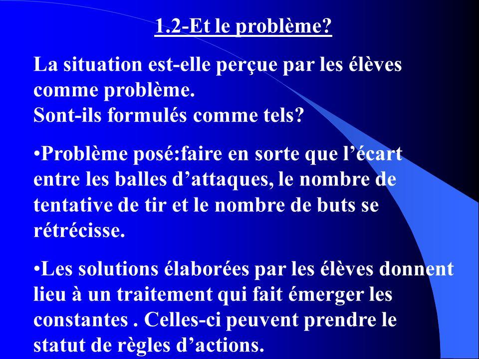 1.2-Et le problème? La situation est-elle perçue par les élèves comme problème. Sont-ils formulés comme tels? Problème posé:faire en sorte que lécart
