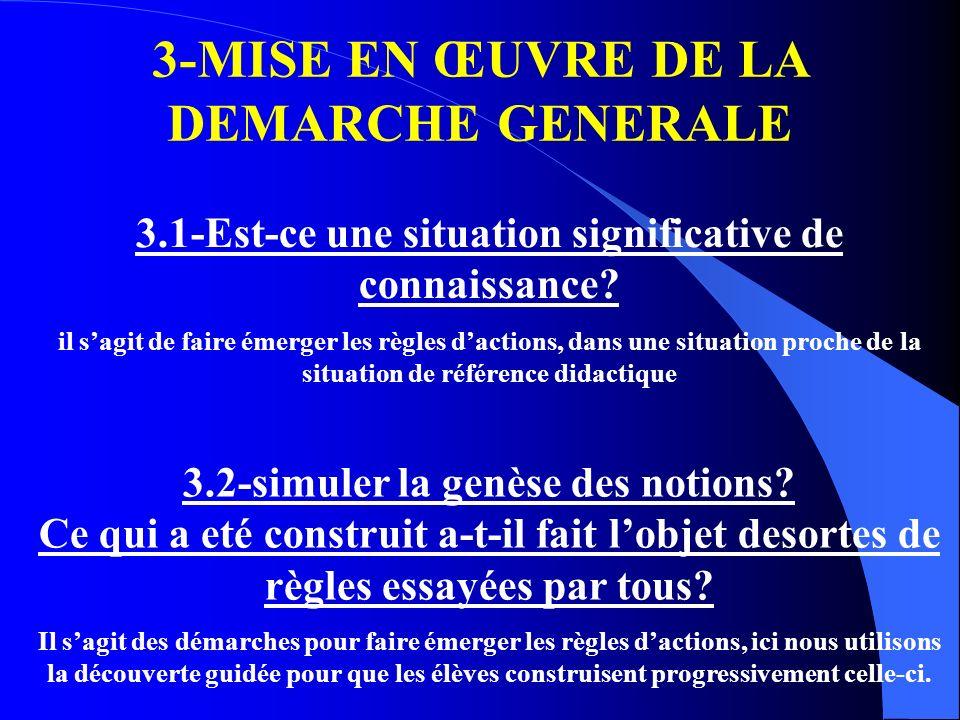 3-MISE EN ŒUVRE DE LA DEMARCHE GENERALE 3.1-Est-ce une situation significative de connaissance? il sagit de faire émerger les règles dactions, dans un