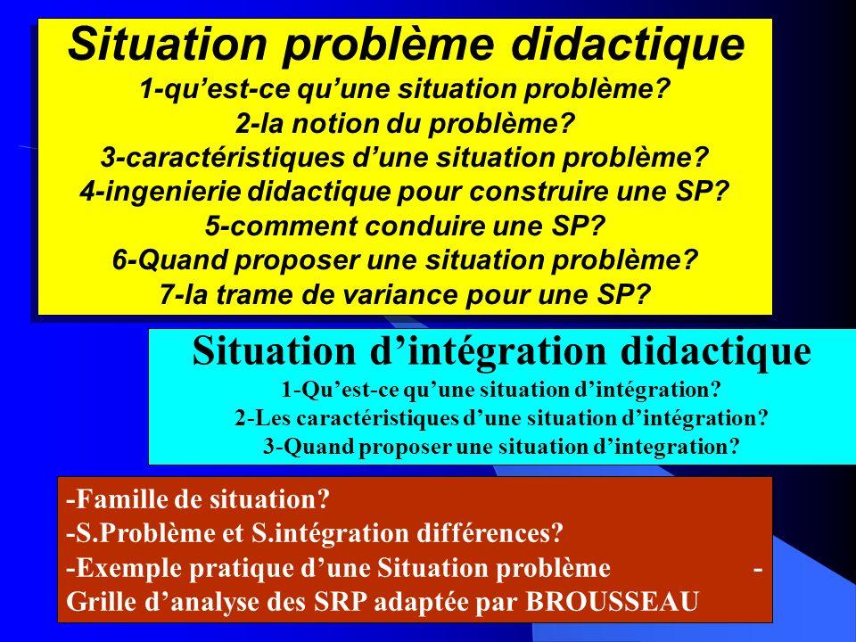 Situation problème didactique 1-quest-ce quune situation problème? 2-la notion du problème? 3-caractéristiques dune situation problème? 4-ingenierie d