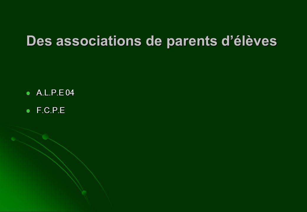 Des associations de parents délèves A.L.P.E 04 A.L.P.E 04 F.C.P.E F.C.P.E