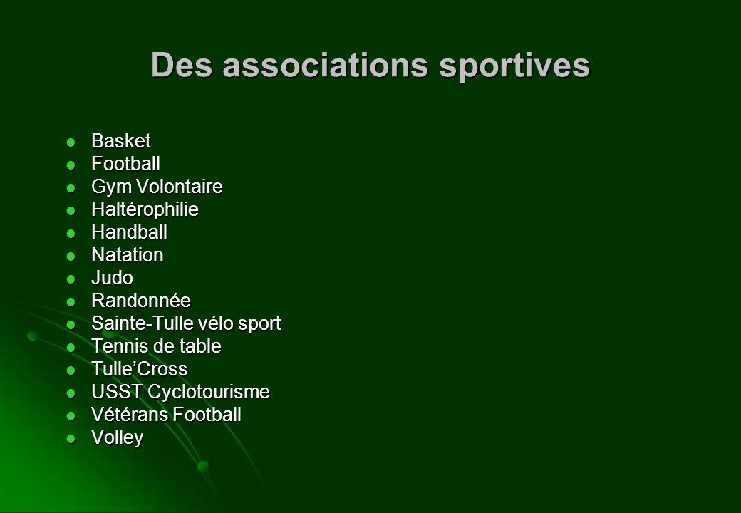 Des associations sportives Basket Basket Football Football Gym Volontaire Gym Volontaire Haltérophilie Haltérophilie Handball Handball Natation Natati