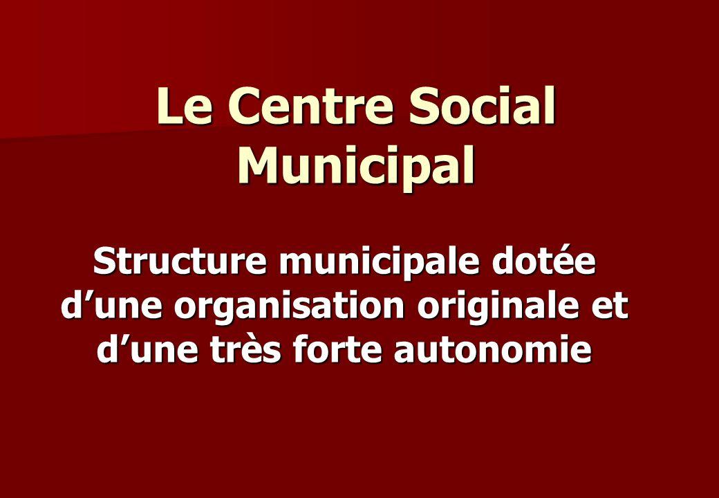 Le Centre Social Municipal Structure municipale dotée dune organisation originale et dune très forte autonomie