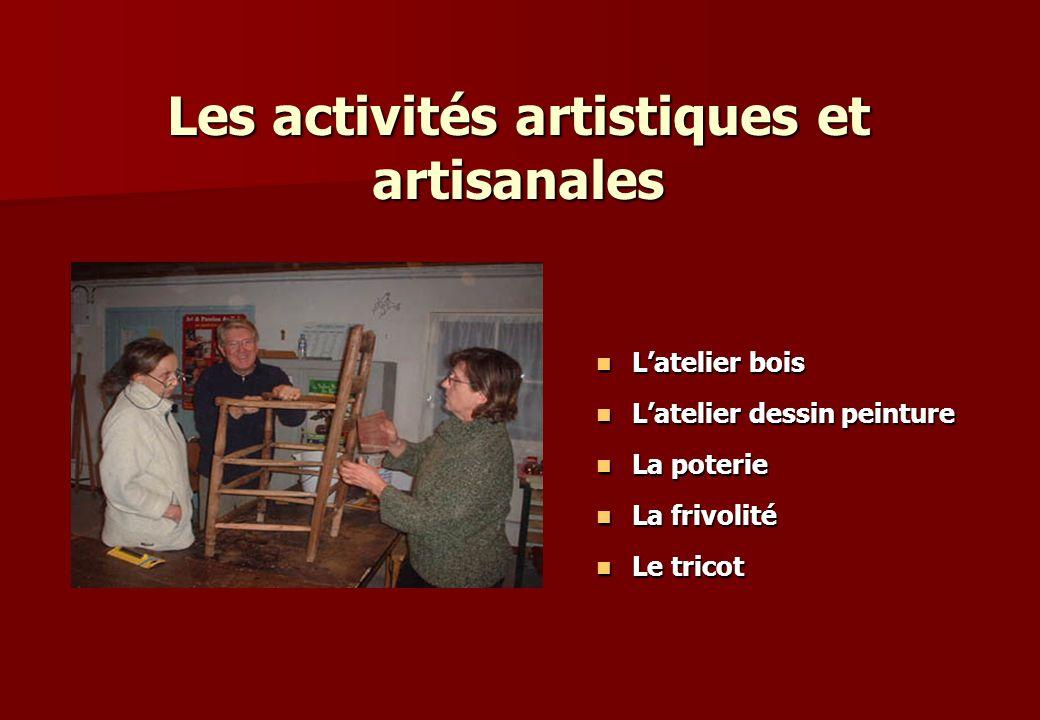 Les activités artistiques et artisanales Latelier bois Latelier bois Latelier dessin peinture Latelier dessin peinture La poterie La poterie La frivol