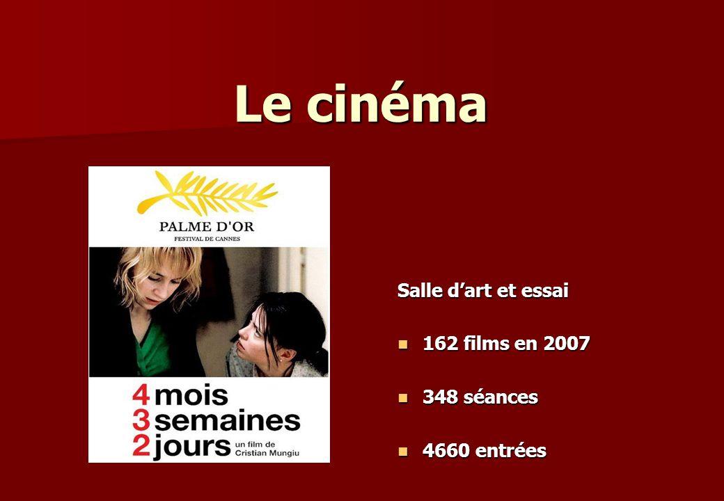 Le cinéma Salle dart et essai 162 films en 2007 162 films en 2007 348 séances 348 séances 4660 entrées 4660 entrées