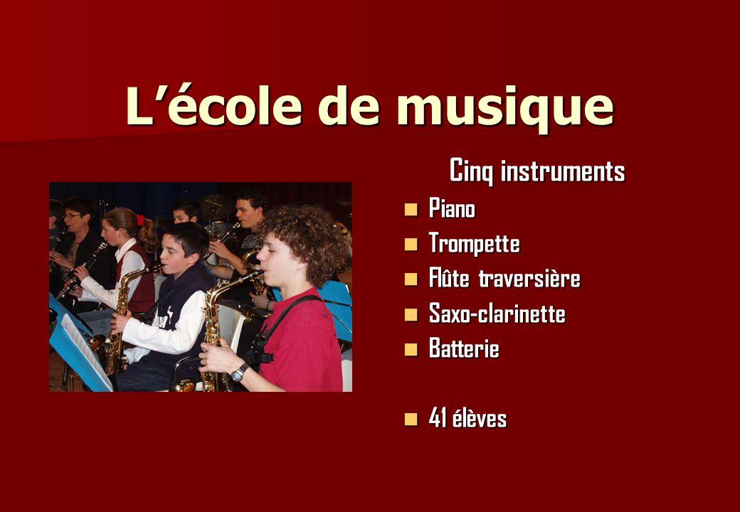 Lécole de musique Cinq instruments Piano Piano Trompette Trompette Flûte traversière Flûte traversière Saxo-clarinette Saxo-clarinette Batterie Batter