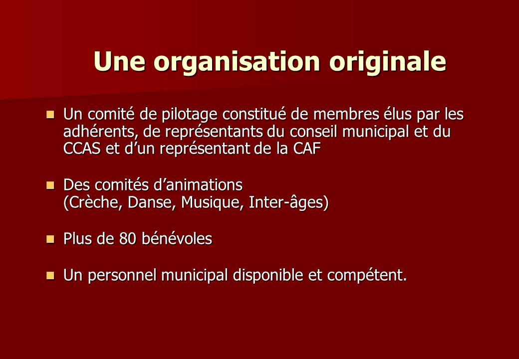 Un comité de pilotage constitué de membres élus par les adhérents, de représentants du conseil municipal et du CCAS et dun représentant de la CAF Un c