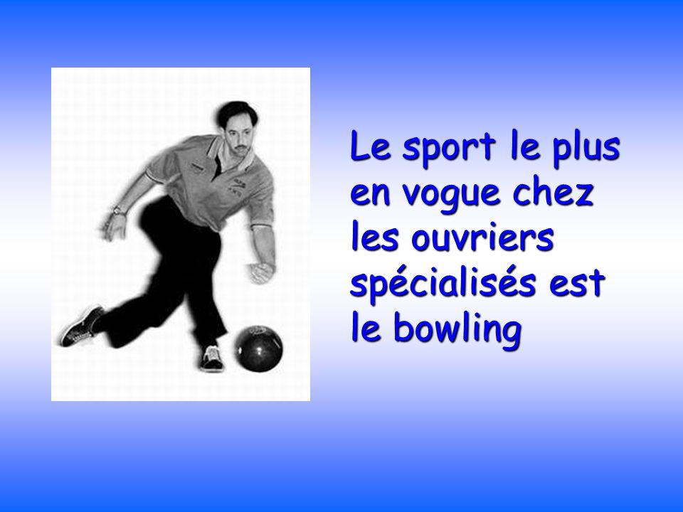 Le sport le plus en vogue chez les ouvriers spécialisés est le bowling