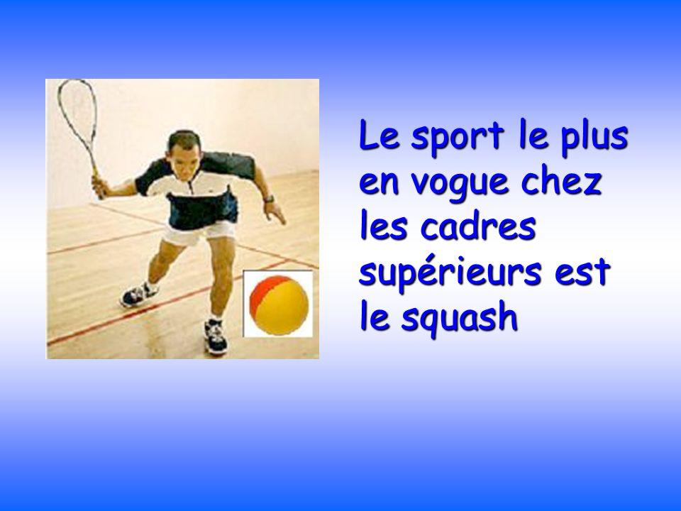 Le sport le plus en vogue chez les cadres supérieurs est le squash