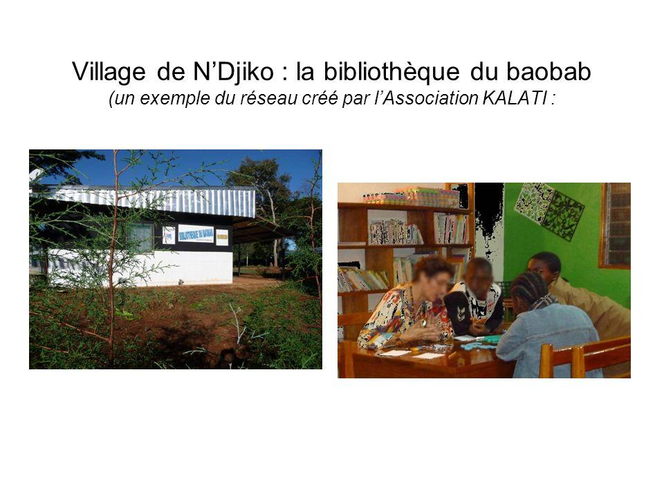 Village de NDjiko : la bibliothèque du baobab (un exemple du réseau créé par lAssociation KALATI :