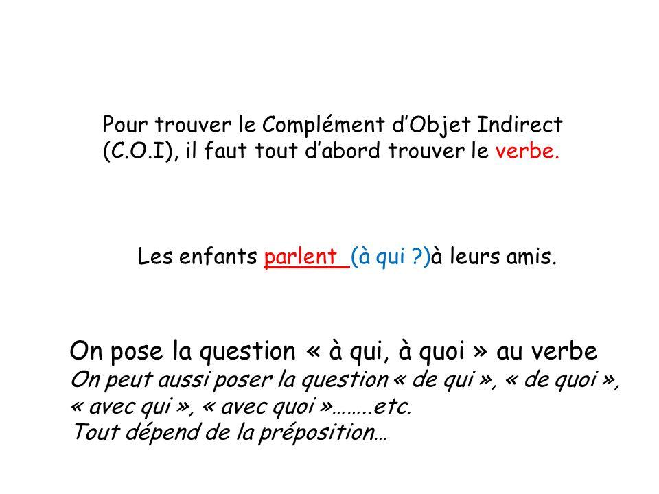 Pour trouver le Complément dObjet Indirect (C.O.I), il faut tout dabord trouver le verbe. Les enfants parlent (à qui ?)à leurs amis. On pose la questi