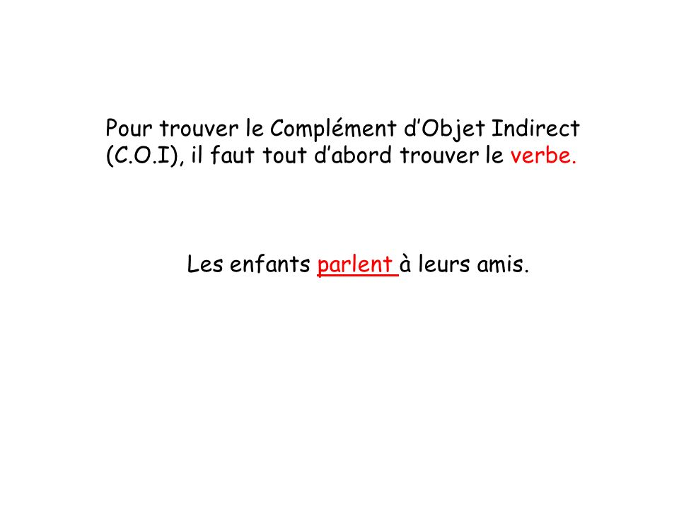 Pour trouver le Complément dObjet Indirect (C.O.I), il faut tout dabord trouver le verbe. Les enfants parlent à leurs amis.