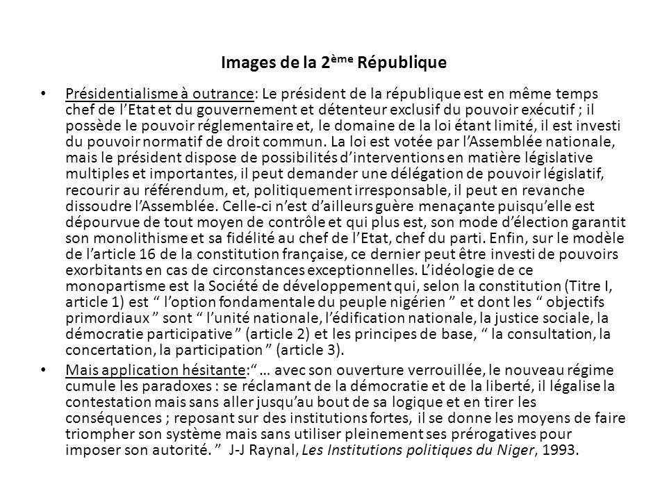 Images de la 2 ème République Présidentialisme à outrance: Le président de la république est en même temps chef de lEtat et du gouvernement et détente