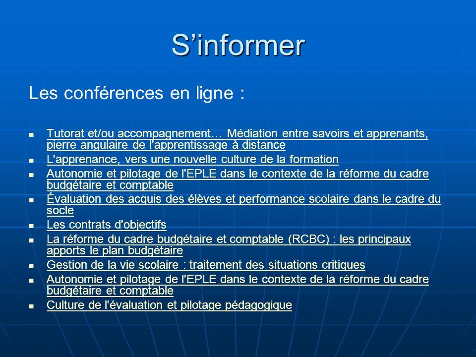 Sinformer Les conférences en ligne : Tutorat et/ou accompagnement… Médiation entre savoirs et apprenants, pierre angulaire de l'apprentissage à distan