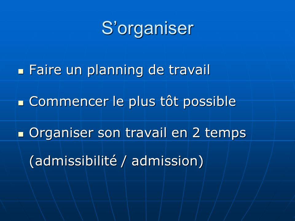 Sorganiser Faire un planning de travail Faire un planning de travail Commencer le plus tôt possible Commencer le plus tôt possible Organiser son trava