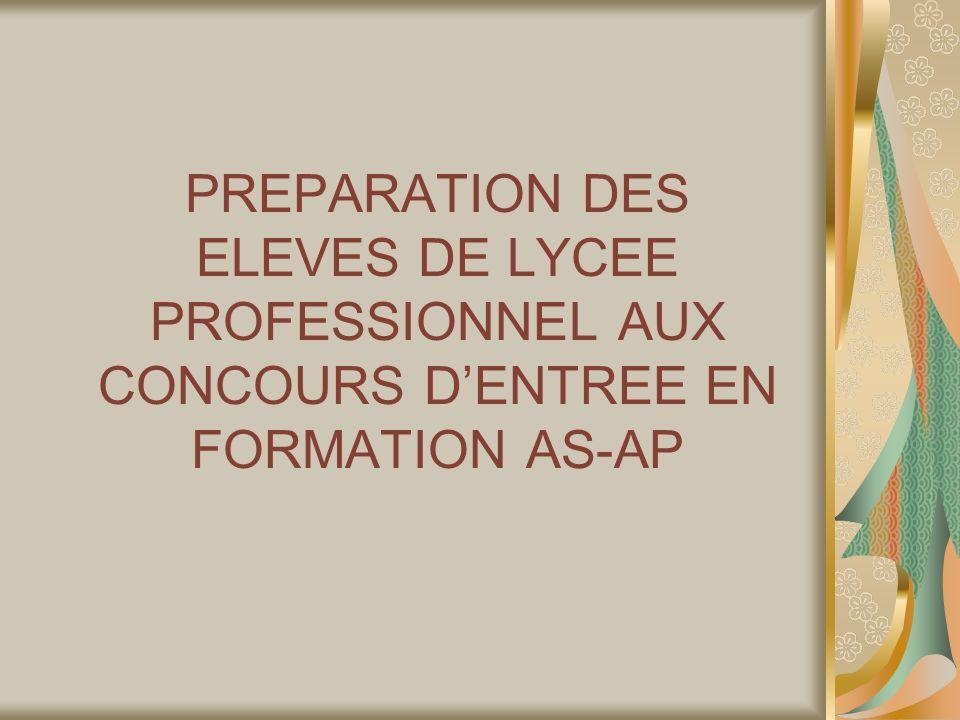 PREPARATION DES ELEVES DE LYCEE PROFESSIONNEL AUX CONCOURS DENTREE EN FORMATION AS-AP