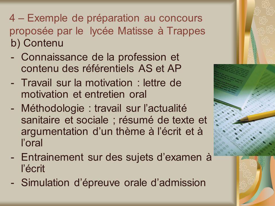 4 – Exemple de préparation au concours proposée par le lycée Matisse à Trappes b) Contenu -Connaissance de la profession et contenu des référentiels A