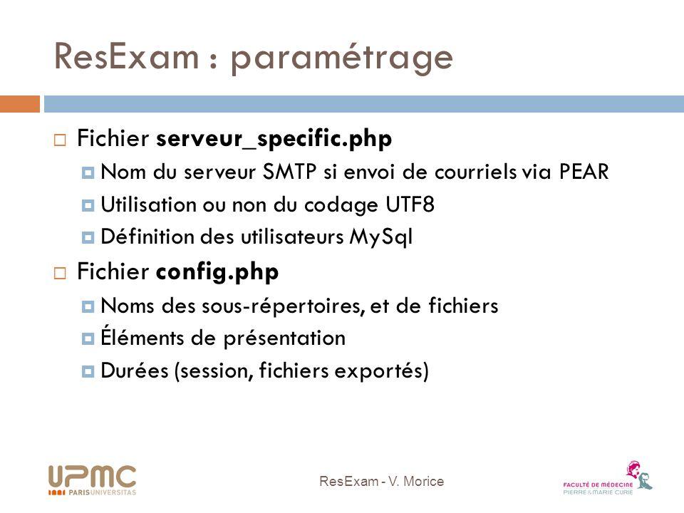 ResExam : paramétrage Fichier serveur_specific.php Nom du serveur SMTP si envoi de courriels via PEAR Utilisation ou non du codage UTF8 Définition des