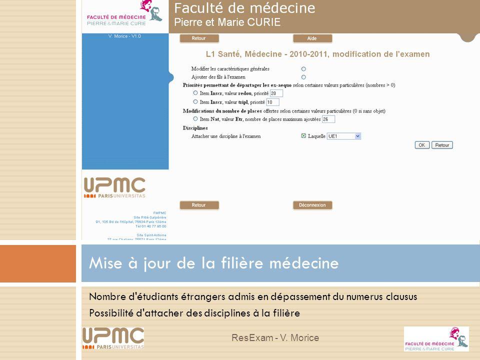 Nombre d'étudiants étrangers admis en dépassement du numerus clausus Possibilité d'attacher des disciplines à la filière Mise à jour de la filière méd