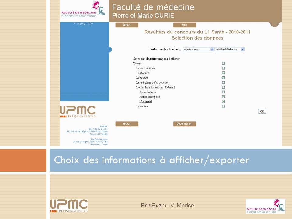 Choix des informations à afficher/exporter ResExam - V. Morice