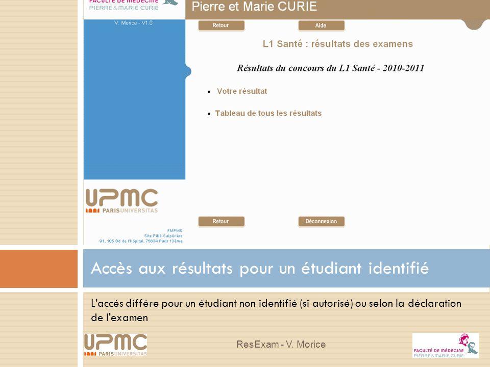 L'accès diffère pour un étudiant non identifié (si autorisé) ou selon la déclaration de l'examen Accès aux résultats pour un étudiant identifié ResExa