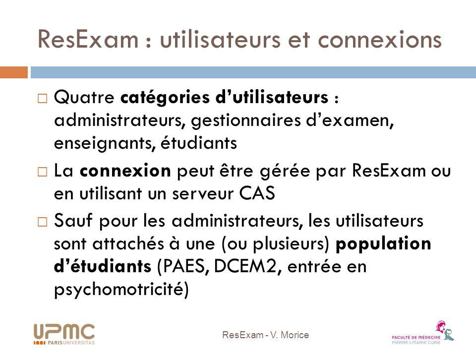 ResExam : utilisateurs et connexions Quatre catégories dutilisateurs : administrateurs, gestionnaires dexamen, enseignants, étudiants La connexion peu