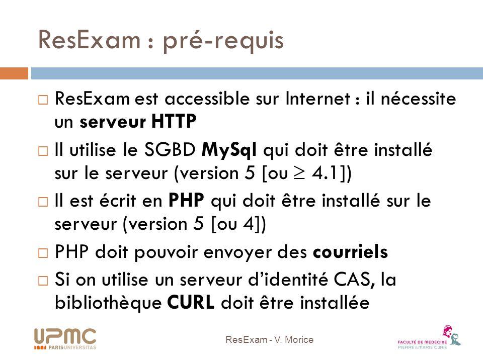 ResExam : la base de données Le fichier resexam.sql contient la définition des tables Selon les droits sur MySql, il doit être légèrement ajusté Il peut ou non comporter linstruction create database Il peut ou non définir les droits ( grant ) pour deux utilisateurs MySql (un en lecture seule, lautre en mise à jour) ResExam - V.