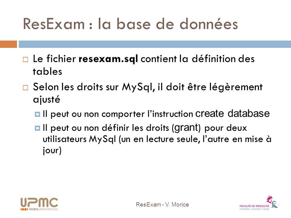 ResExam : la base de données Le fichier resexam.sql contient la définition des tables Selon les droits sur MySql, il doit être légèrement ajusté Il pe