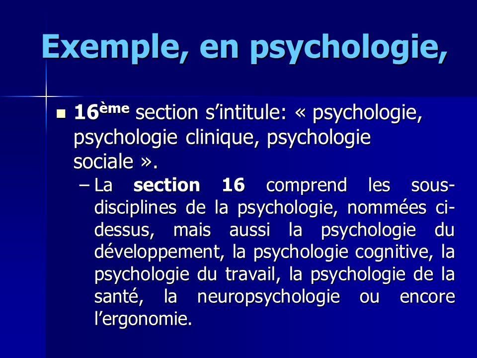 Exemple, en psychologie, 16 ème section sintitule: « psychologie, psychologie clinique, psychologie sociale ». 16 ème section sintitule: « psychologie