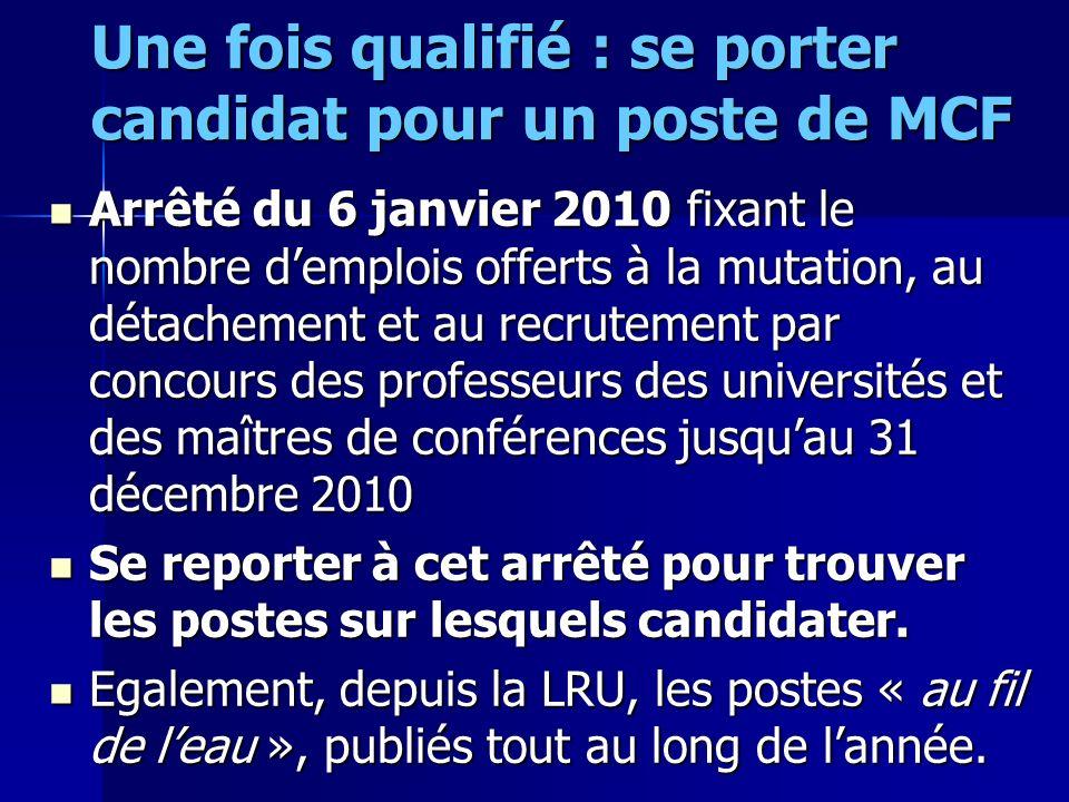 Une fois qualifié : se porter candidat pour un poste de MCF Arrêté du 6 janvier 2010 fixant le nombre demplois offerts à la mutation, au détachement e