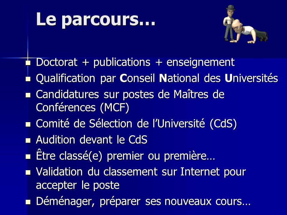 Le parcours… Doctorat + publications + enseignement Doctorat + publications + enseignement Qualification par Conseil National des Universités Qualific