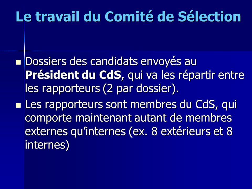 Le travail du Comité de Sélection Dossiers des candidats envoyés au Président du CdS, qui va les répartir entre les rapporteurs (2 par dossier). Dossi