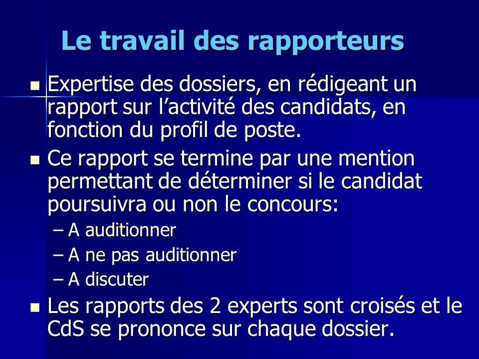 Le travail des rapporteurs Expertise des dossiers, en rédigeant un rapport sur lactivité des candidats, en fonction du profil de poste. Expertise des