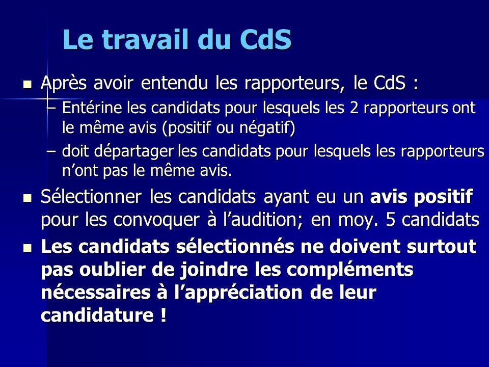 Le travail du CdS Après avoir entendu les rapporteurs, le CdS : Après avoir entendu les rapporteurs, le CdS : –Entérine les candidats pour lesquels le