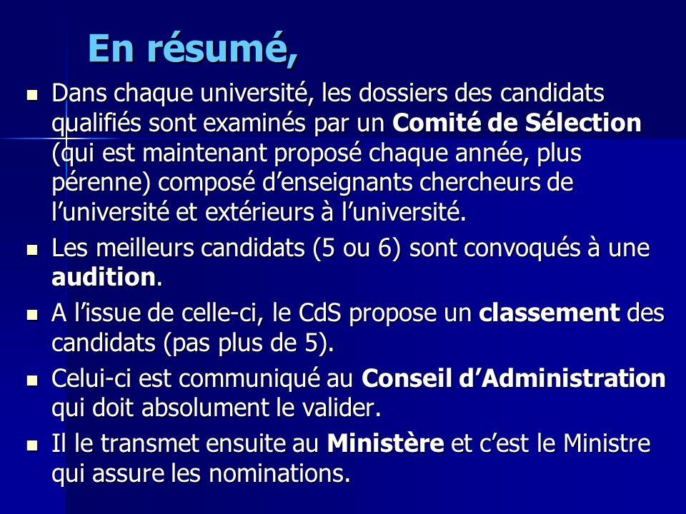 En résumé, Dans chaque université, les dossiers des candidats qualifiés sont examinés par un Comité de Sélection (qui est maintenant proposé chaque an