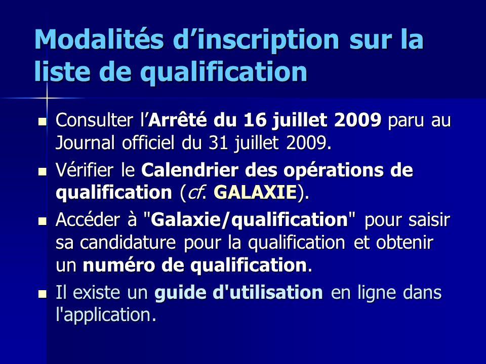 Modalités dinscription sur la liste de qualification Consulter lArrêté du 16 juillet 2009 paru au Journal officiel du 31 juillet 2009. Consulter lArrê