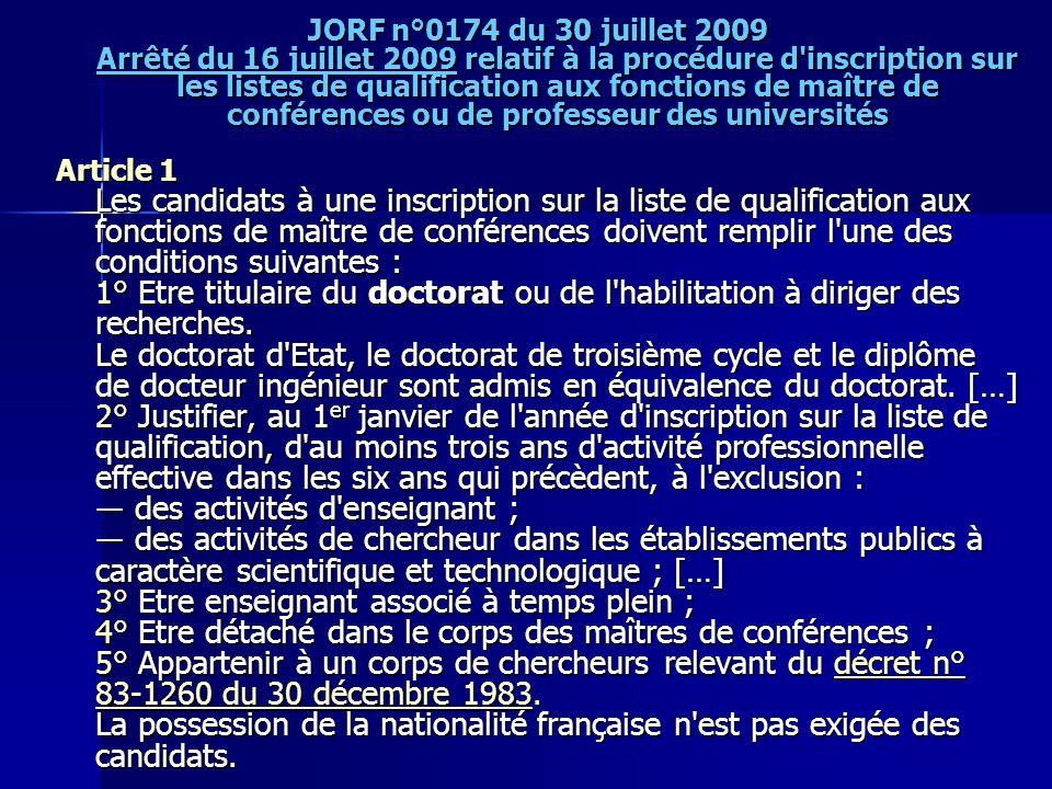 JORF n°0174 du 30 juillet 2009 Arrêté du 16 juillet 2009 relatif à la procédure d'inscription sur les listes de qualification aux fonctions de maître