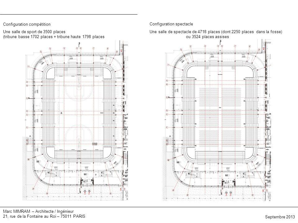 Marc MIMRAM – Architecte / Ingénieur 21, rue de la Fontaine au Roi – 75011 PARIS Elévations Septembre 2013 Une salle de sport de 3500 places (tribune