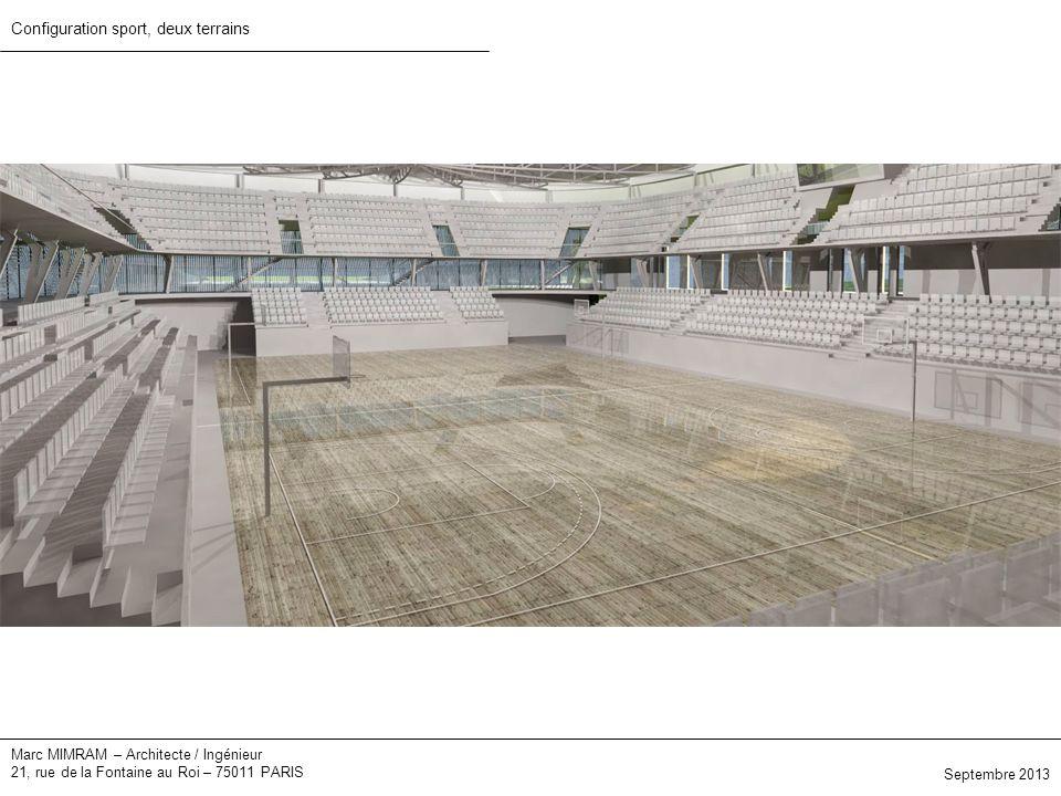 Marc MIMRAM – Architecte / Ingénieur 21, rue de la Fontaine au Roi – 75011 PARIS Configuration sport, deux terrains Septembre 2013