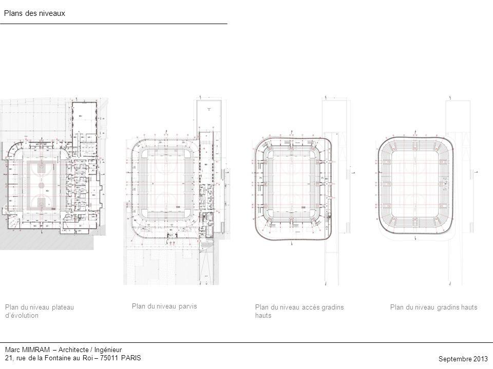 Marc MIMRAM – Architecte / Ingénieur 21, rue de la Fontaine au Roi – 75011 PARIS Plans des niveaux Plan du niveau plateau dévolution Plan du niveau parvis Plan du niveau accès gradins hauts Plan du niveau gradins hauts Septembre 2013