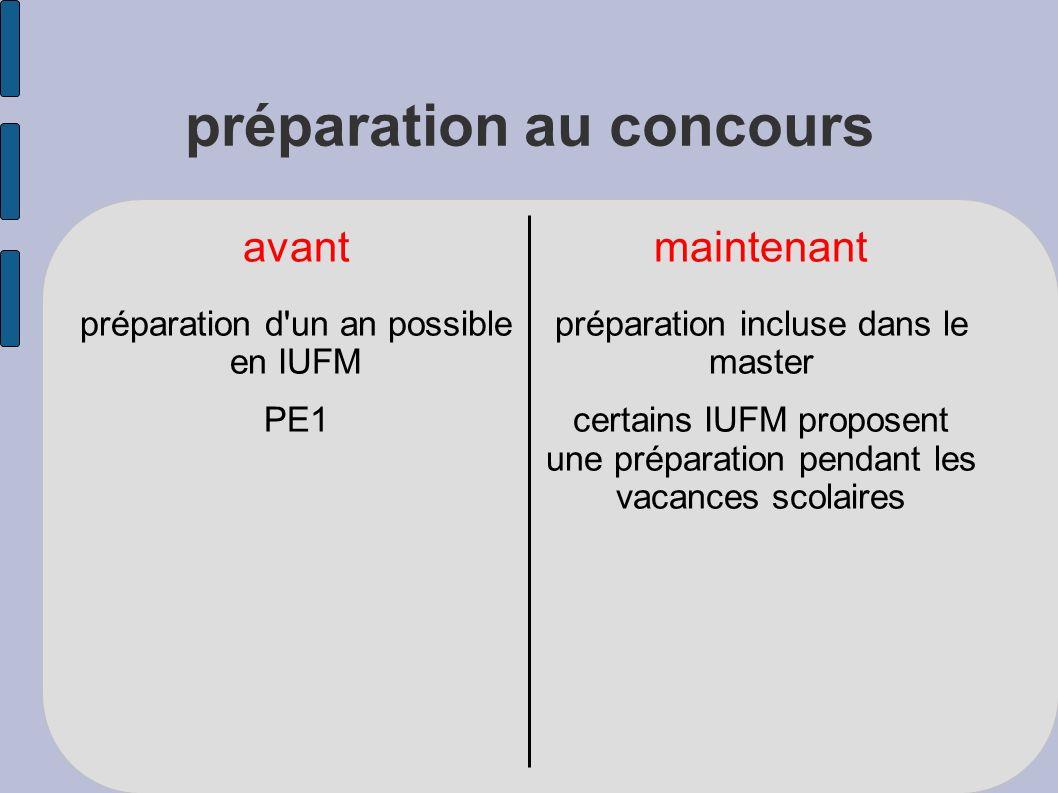 préparation au concours avantmaintenant préparation d un an possible en IUFM PE1 préparation incluse dans le master certains IUFM proposent une préparation pendant les vacances scolaires